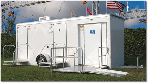 ADA Compliant Handicapped Restroom Trailer Rentals in Lowell, Massachusetts (MA).
