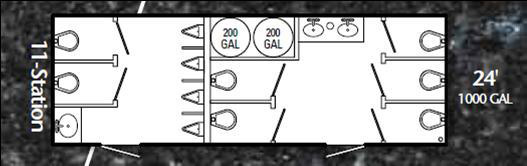 View Floor Plan of Mobile Restroom Trailer with Mens and Women's Stalls.