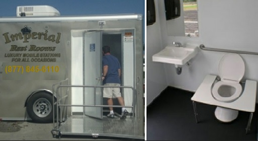 mens room womens room mobile bathroom trailer with privacy stalls - Mobile Bathroom