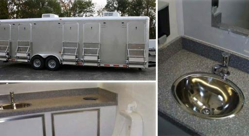 Centry V Heated Bathroom Trailer Rentals with Air Conditioning, electric lights and air conditioning.