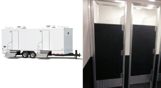 JAG 9 Stall Flex Portable Bathroom Trailer Rental for Weddings, Home Remodeling & Renovations and Large Commercial Construction Sites.