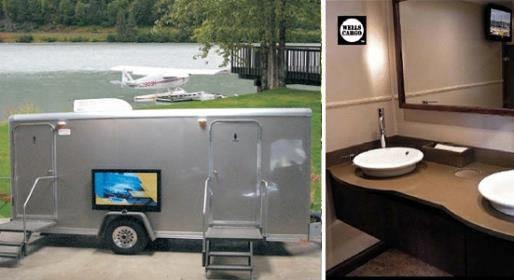 Platinum Comford Elite Restroom Trailer with a TV, DVD, CD, AM/FM Radio and Running Water.