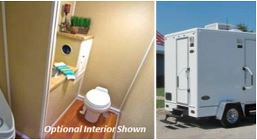 JAG Porta Lisa Versa Bathroom Trailer Rental in MD, NJ, CT, MA, NH, VA, DE, NY, RI, IL, VT, PA, TX, IN, ME, GA, OH, FL, NC, SC, LA, TN and KY.