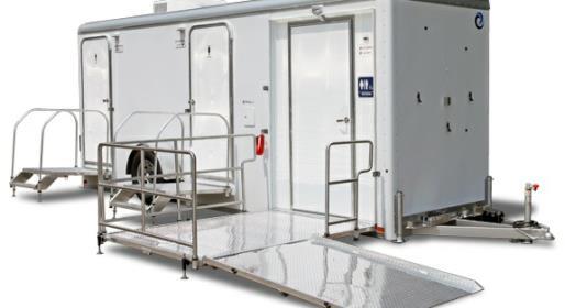 Handicapped Bathroom Trailer Rentals Which is ADA Compliant for Americans With Disabilities.
