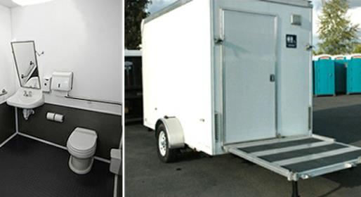 Small, single stall restroom trailer for rent in FL, NY, MA, NJ, PA, TX, LA, MS, GA, TN, KY, IN, IL, OH, VA, WV and many other states in the Union.