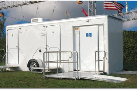 Hallandale Beach Bathroom/Shower Trailer Rentals in Hallandale Beach, Florida.